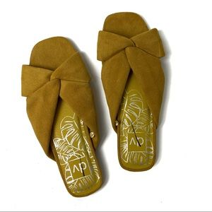 DOLCE VITA Yellow Gold Microsuede Sandals Slides